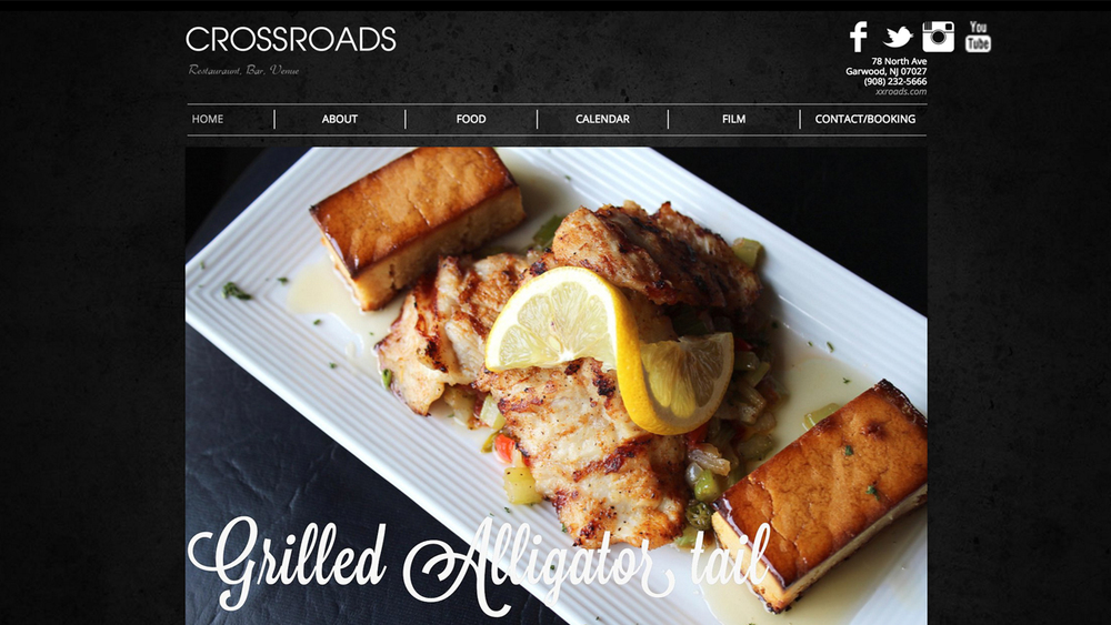 Crossroads  (Garwood, Union County) Cajun-American cuisine. Meat / seafood / vegetarian dishes. Grilled Louisiana Alligator Tail, Thai Spring Rolls, Louisiana Crab Cakes, Southern Chicken Quesadilla, Famous Voodoo Cajun Shrimp, and more. Located at 78 North Ave.