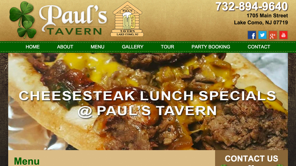 Paul's Tavern  (Lake Como, Monmouth County)  Irish Pub & bar.  Steak, 1/2 lb burgers, pizzas, salads, wings, and more. Located at 1705 Main Street.