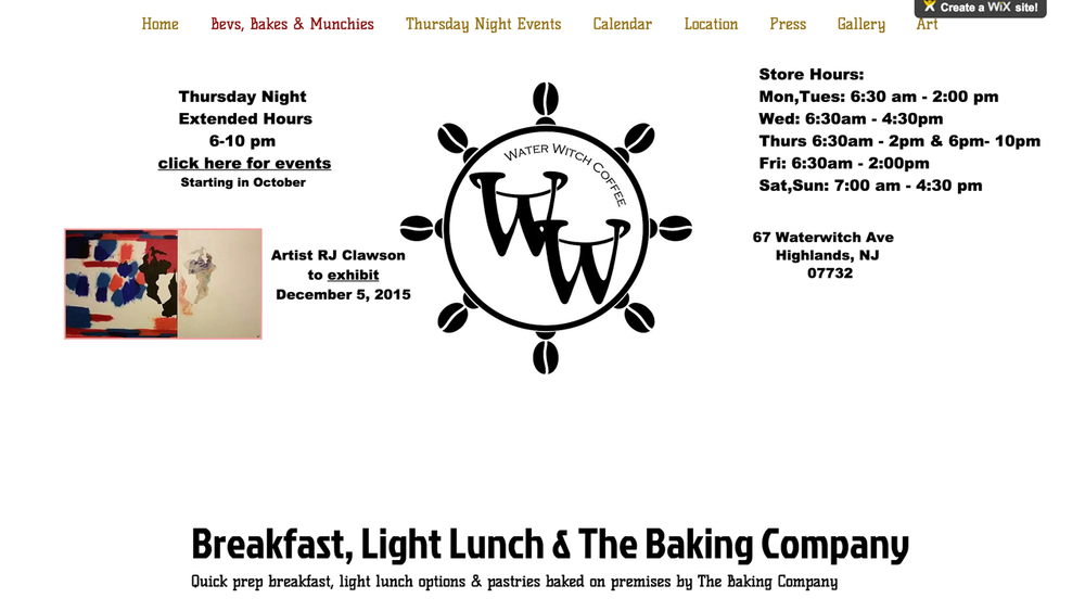 "Water Witch Coffee  (Highlands, Monmouth County) ""Quick prep breakfast, light lunch options & pastries baked on premises,"" including crepes, breakfast burrito, sandwiches, smoothies, an espresso bar, and more. Located at 67 Waterwitch Ave."