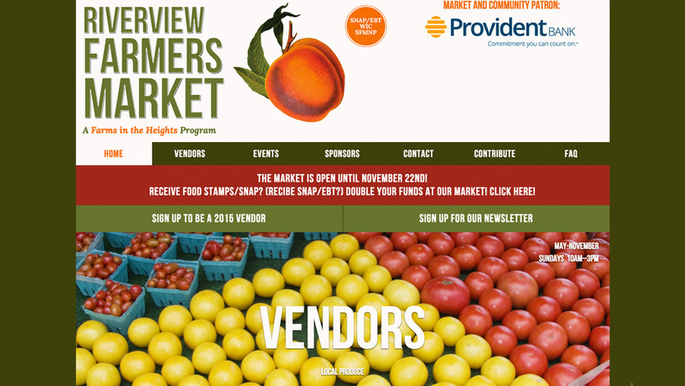 Riverview Farmers Market  (Jersey City, Hudson County)  Fresh produce, fresh baked goods, flowers, free-range eggs, natural body products, and more. Located at Riverview-Fisk Park (1 Bowers St), 10am - 3pm on Sundays, May through November