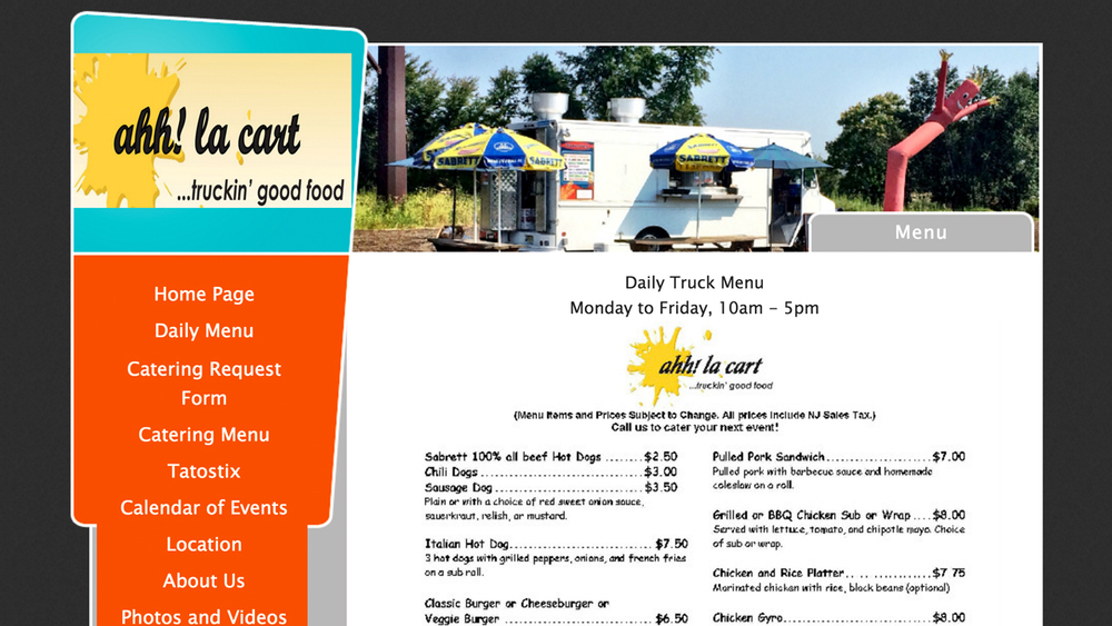 ahh! la cart (Monroe Township, Middlesex County) American-International food truck. Hot dogs, burgers, subs, burrito bowls, tacos, quesadillas, sandwiches, gyros, soups, and more. Located at 385 Deans Rhode Hall Rd.