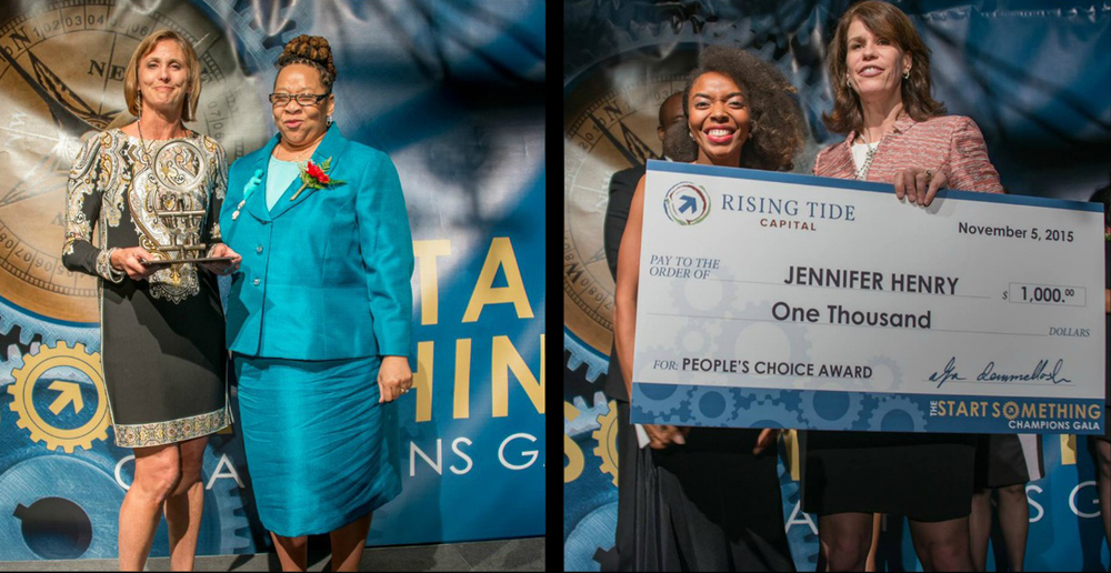 (Left) Angela Huggins presents 2015 Entrepreneurial Award for Philanthropy to Sheri Sobrato Brisson of the Sobrato Family Fund. Award by Jerome China. (Right) 2015 People's Choice Award Winner Jennifer Henry, Founder of HillPoint Preparatory School.