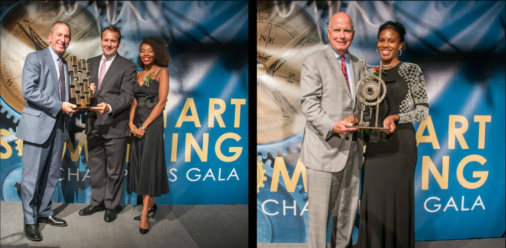 "(Left) Jennifer Henry presents 2015 Community Builder of the Year to Paul Silverman. Also pictured, Anthony Cammarata (middle). Award by artist Jerome China. (Right)   Myani Lawson presents Kevin Cummings, CEO of Investors Bank, with ""Corporate Entrepreneur of the Year"" award, sculpted by artist Jerome China."