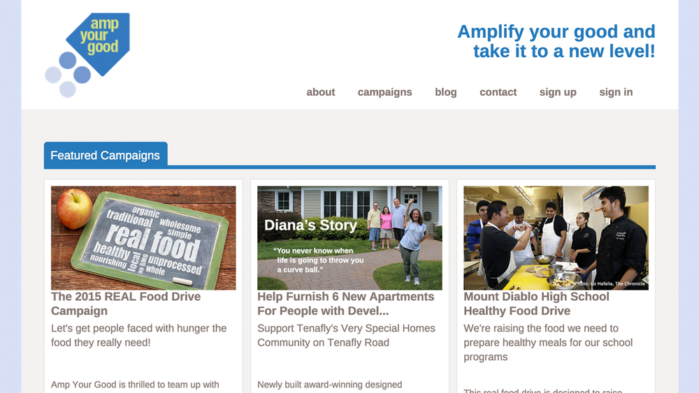 Amp Your Good  (Mendham, Morris County)  Crowd-feeding platform