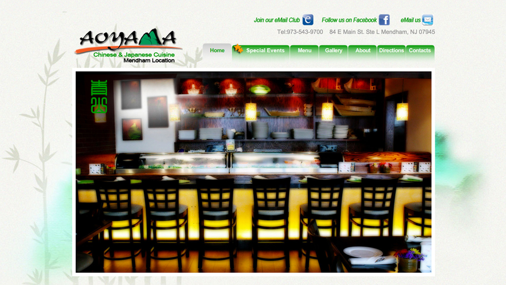 Aoyama  (Mendham, Morris County) Chinese and Japanese restaurant. Serves lunch and dinner. Menu items include vegetable dishes, meat dishes, seafood, fried rice, noodles, chow mein, sushi, sashimi, tempura, teriyaki dishes, and more. Located at 84 E. Main St, Suite L.