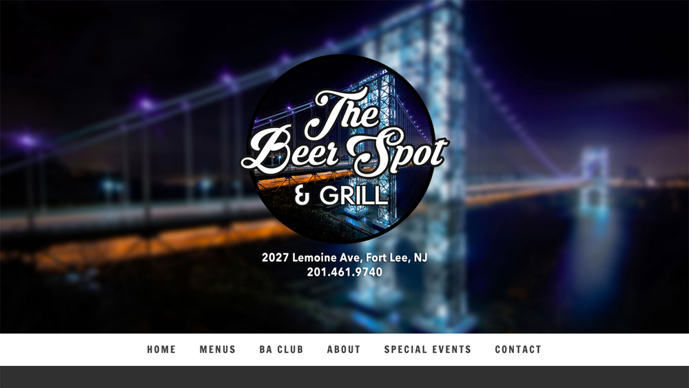 The Beer Spot and Grill  (Fort Lee, Bergen County) Traditional American cuisine. Serves lunch, dinner, and drinks. Menu items include quesadillas, nachos, tacos, sliders, empanadas, sandwiches, wings, ribs, burgers, and more. Over 20 beers on tap. Located at 2027 Lemoine Ave.