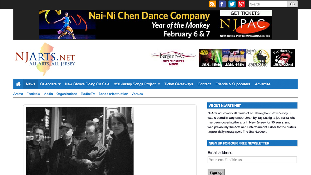 NJArts.net  (Montclair, Essex County) Website covering all forms of art throughout NJ.