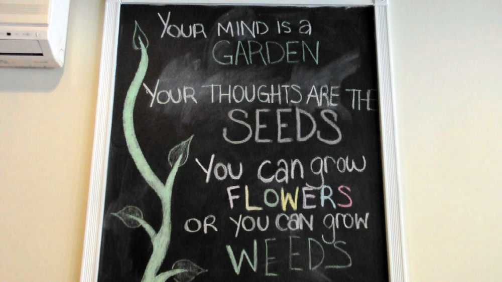 """Your mind is a garden. Your thoughts are seeds. You can grow flowers or you can grow weeds."""