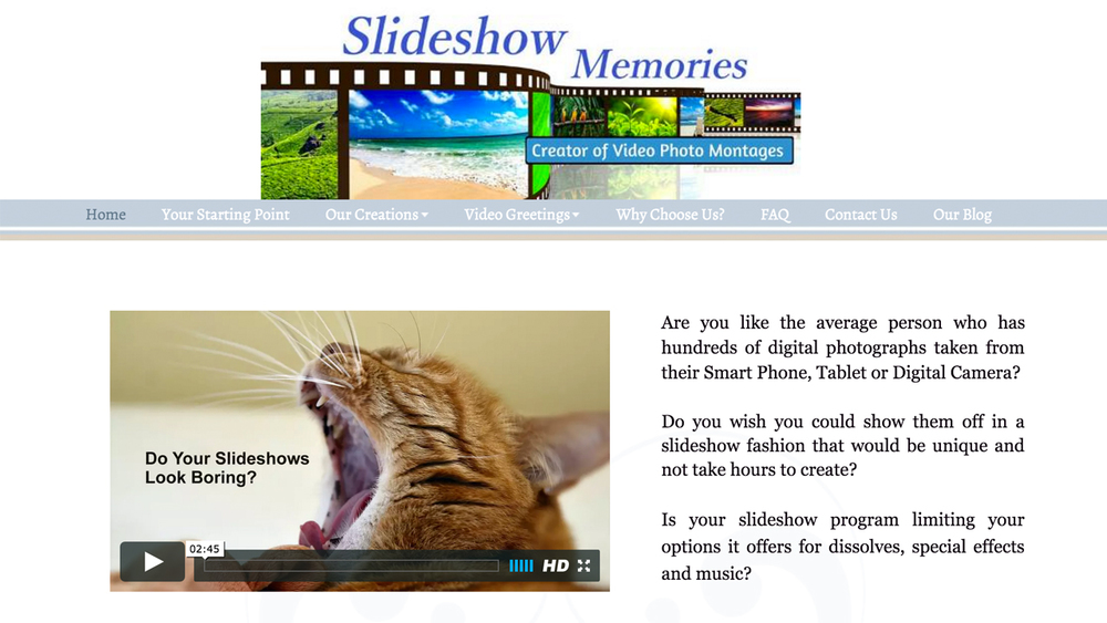 Slideshow Memories  (Tuckerton, Ocean County)  Creator of video photo montages.