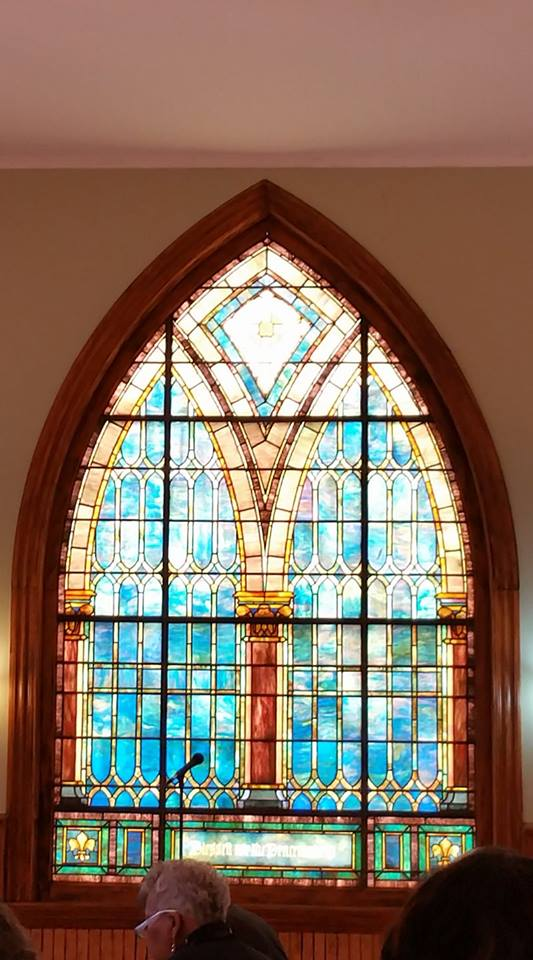 Stained glass window in the First Unitarian Universalist Church, Orange, NJ