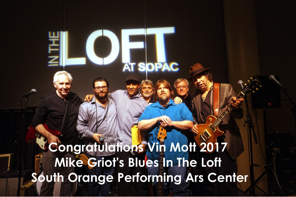 SOPAC Blues In The Loft winner Vin Mott (second from left) with House Band, Al Gold (far right), and Mike Griot (third from left).  Image: Gregory Burrus.