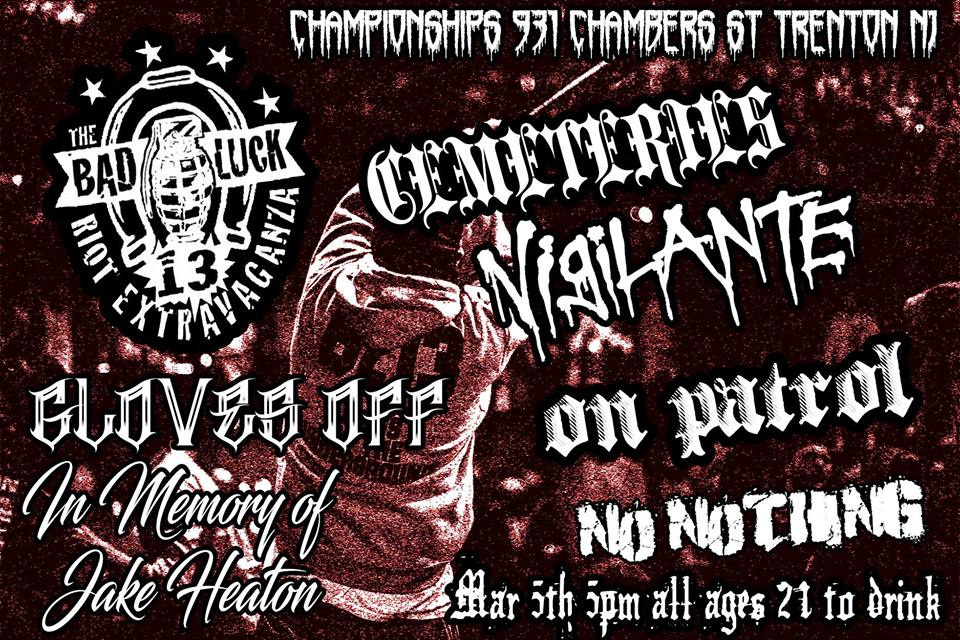 NEW JERSEY HARDCORE (NJHC) SHOWS THIS WEEKEND (March 3rd - 5th, 2017)   Hardcore, Punk   Clementon  /  Trenton, NJ   Posted Tuesday, February 28, 2017