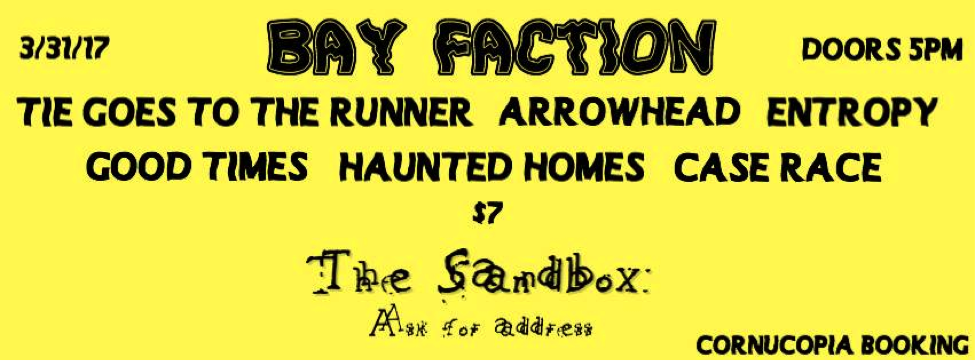 THE SANDBOX SHOW (March 31, 2017)   Rock, Indie, Emo, Punk, Ambient, Grunge, Hardcore, Punk   Mays Landing, NJ    Posted Sunday, March 5, 2017