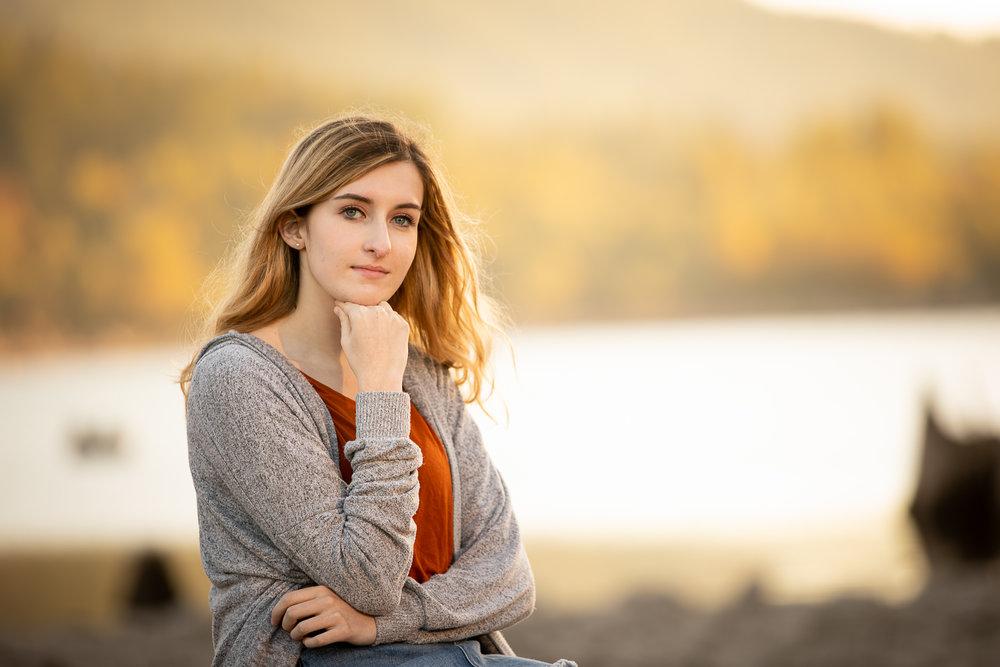 High School Senior Girl Golden Background at Lake