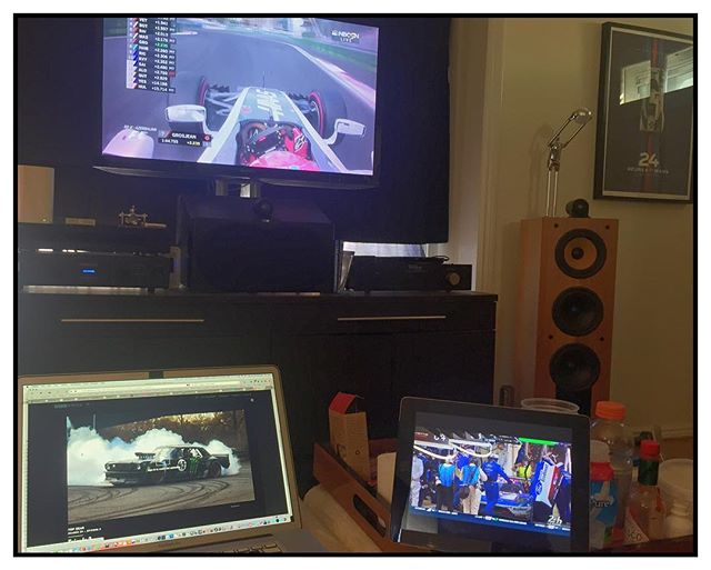 Racing Life. The best weekend for the US enthusiast. Pictured the Haas F1, Gnassi Ford GT, Hoonigan AWD Ford Mustang with Ken Block and a Table full of take-out the F1 Baku qualify on the Roku, the latest TopGear UK on BBCs website, Non-stop coverage of the 24 hours of Le Mans on the iPad, and a Unique & Limited @uniquelimited Vintage 24 Hours of Le Mans Martini Porsche 917K poster. #f1 #formula1 #24hourslemans #24hoursoflemans #enduranceracing #BBC #topgearuk #topgear #uniquelimited #racingjunkie #raceaddicted #vintage24hoursartwork. #917 #porsche  #24hourslemans #lemans #automotiveart #uniquelimited #racing #917k #porsche917  #porsche  #vintageracing #bowerswilkens #audiophile @bowerswilkins #velodyne #oppo @furmanAudio @oppodigital #velodyneaudio