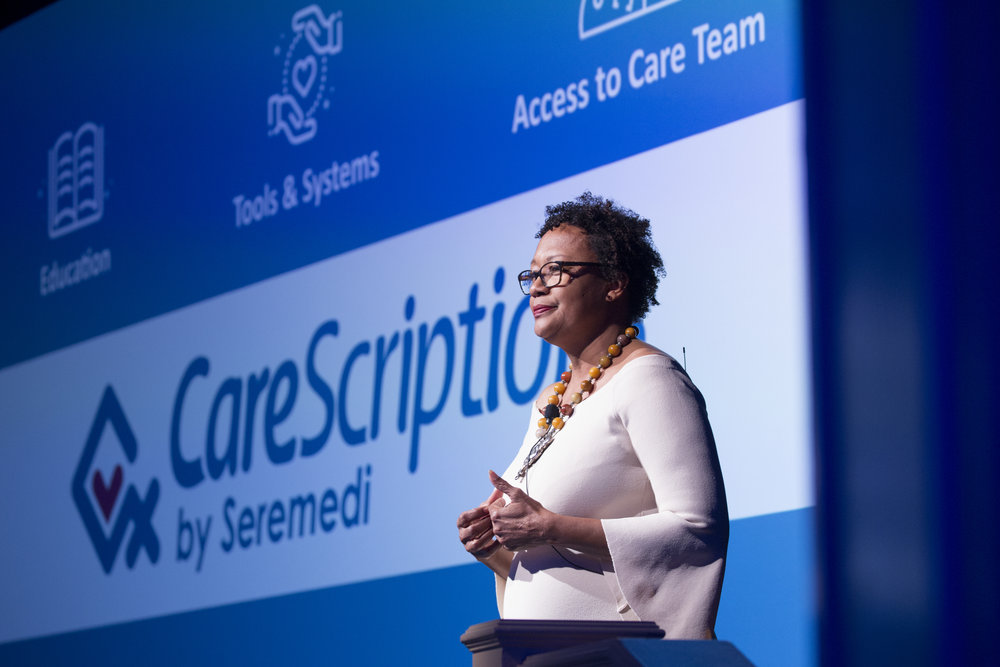 Kim pitches CareScriptions at Class 3 Demo Day in December 2017.