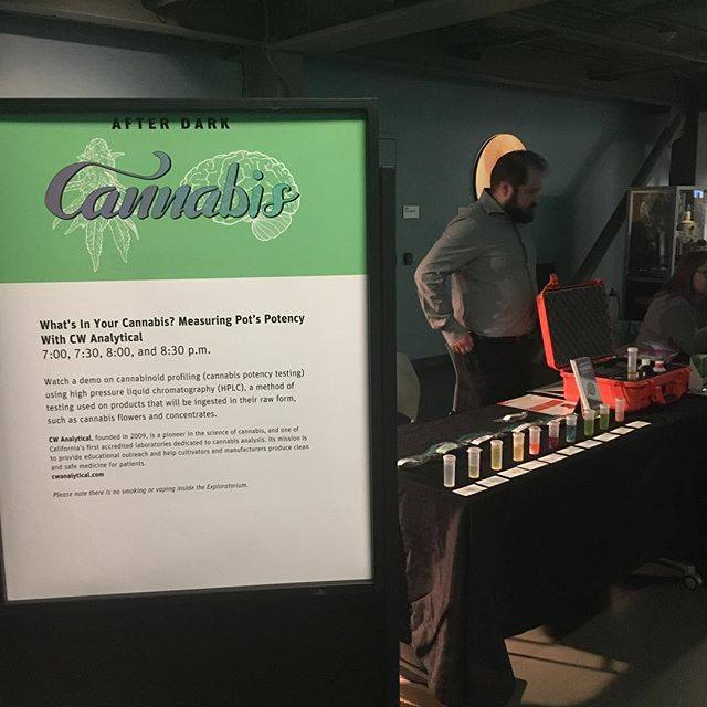 We're all set up! Can't wait to share what we have in store for the night! @exploratorium #cannabiscommunity #cannabis #cannabistesting