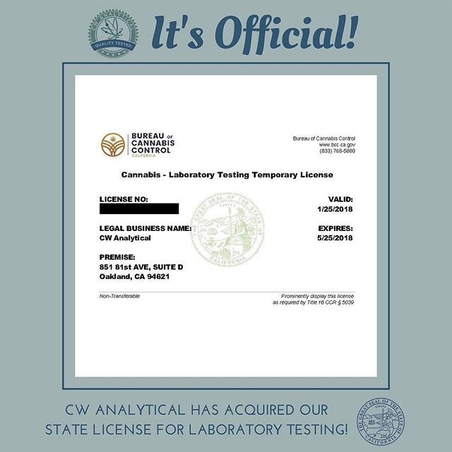 Did you hear the big news?! After much preparation and patience, we officially acquired our California temporary license! CW Analytical is now licensed by the state AND are fully ISO certified. Contact us for more information regarding the new rules and regulations, and what to expect from compliance testing. We're here to ensure consumers are getting the best products possible!