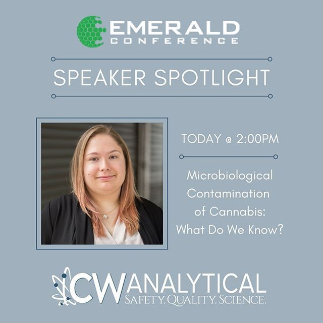 "TODAY @ 2:00 PM at the @emeraldconference in San Diego, see our own Microbiology Lab Manager, Emily Savage, present on the ""Microbiological Contamination of Cannabis""! Check it out if you're in attendance for some thorough research and information regarding contaminants affecting the Cannabis industry."