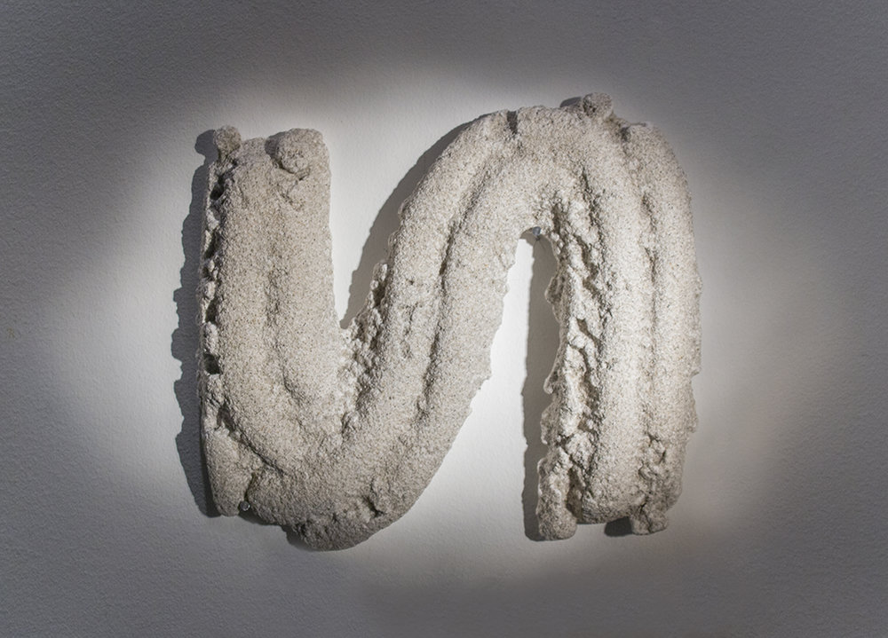 Sine, 2015, plaster and sand, from the Human Gesture series of six wall-mounted sculptures in various dimensions