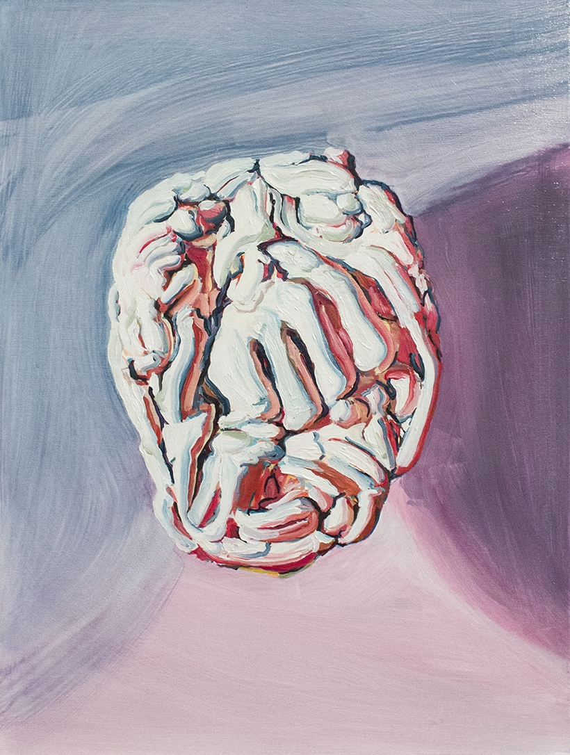 Finger Face Painting 4 (Knuckle Sandwich), 2016, oil on panel, 16x12 inches