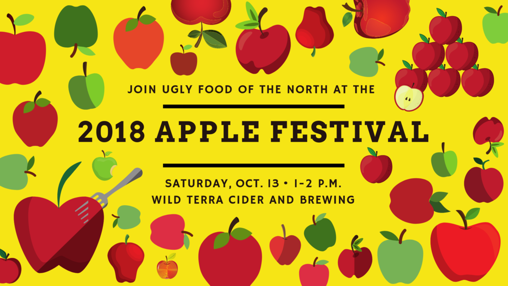 Saturday, October 13:  Ugly Food Hour at the  2018 Apple Harvest Festival  included a short presentation on food grading, and samples of three different types of apples.  Special thanks to our friends at Wild Terra for providing us with delicious Fireside and Chestnut Crab apples!