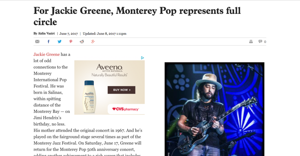 For Jackie Greene, Monterey Pop represents full circle - June 7, 2017On Saturday, June 17, Greene will return for the Monterey Pop 50th anniversary concert, adding another achievement to a rich career...