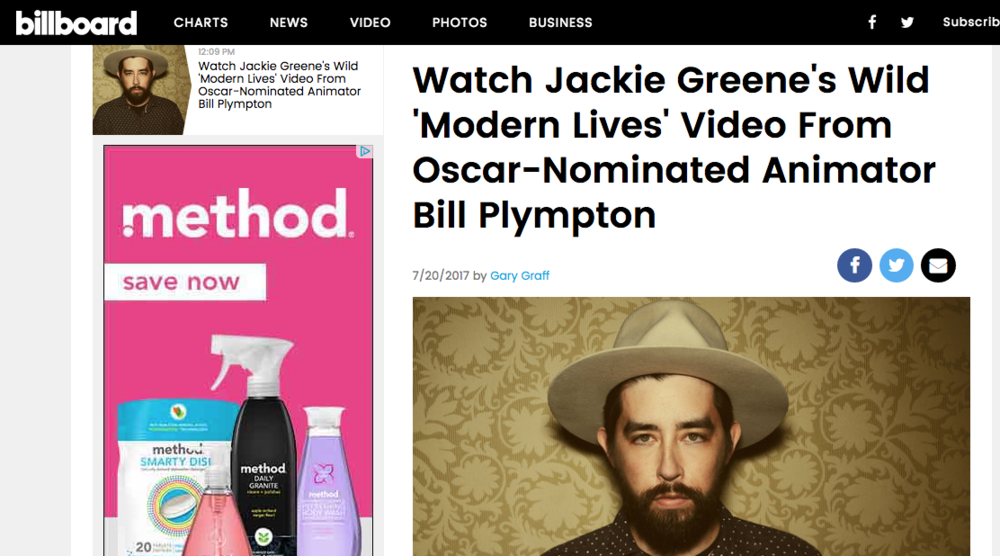 Billboard: Watch Jackie Greene's Wild 'Modern Lives' Video From Oscar-Nominated Animator Bill Plympton - July 20, 2017