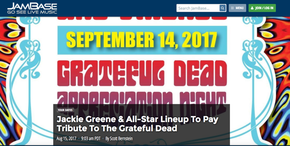 "Jackie Greene & All-Star Lineup To Pay Tribute To The Grateful Dead - August 15, 2017Brooklyn Bowl in New York City will host a fundraiser for Rock & Wrap It Up on September 14. The musical entertainment will be ""Grateful Dead Appreciation Night,"" while the event will also feature a silent auction, live auction and raffle to help the homeless of New York..."