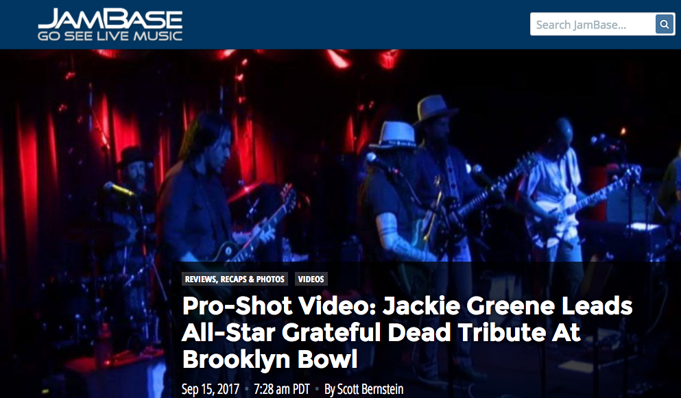"Jackie Greene Leads All-Star Grateful Dead Tribute At Brooklyn Bowl - September 15, 2017Brooklyn Bowl in New York City hosted a show billed as ""Grateful Dead Appreciation Night"" to raise funds for Rock & Wrap It Up on Thursday night. Jackie Greene and his group served as the house band with jam scene all-stars making appearances throughout the night..."
