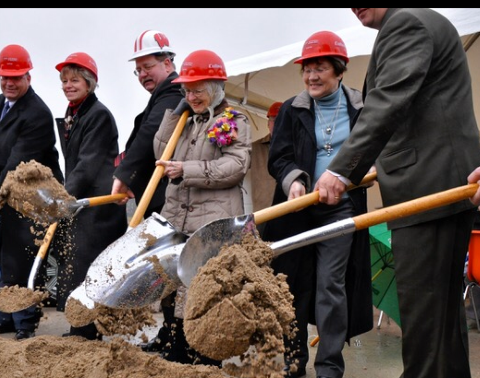 At groundbreaking of Jack Russell Memorial Library in Hartford, WI. Below is a picture taken in the completed library, at a recognition ceremony for years of service on the library board.