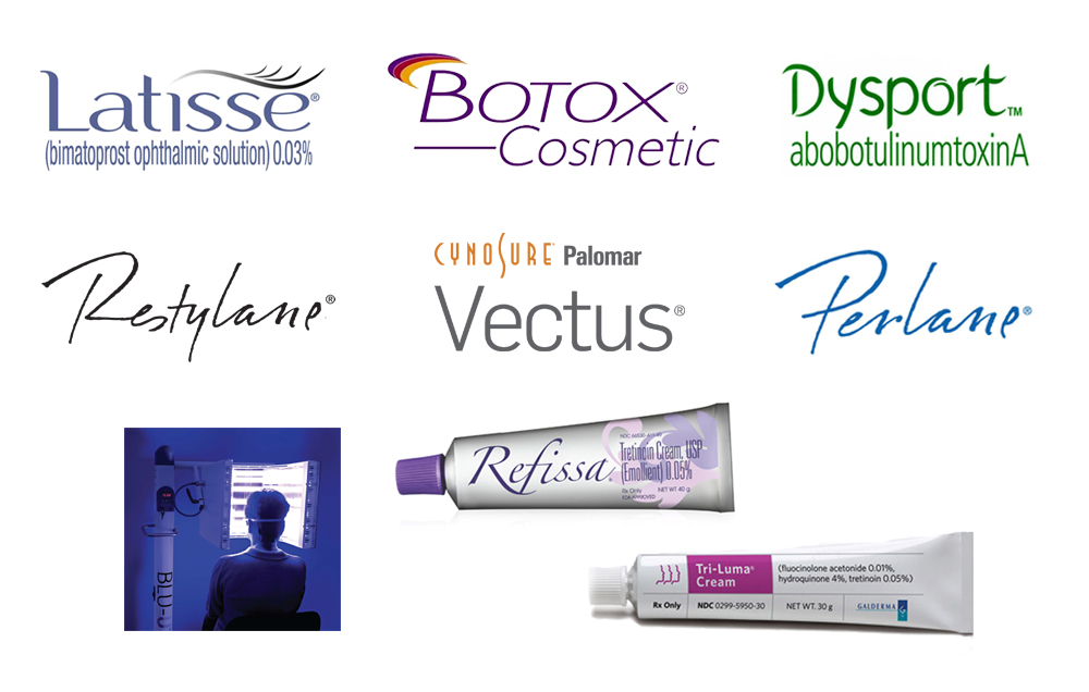 A selection of our cosmetic treatments, available by appointment and prescription.