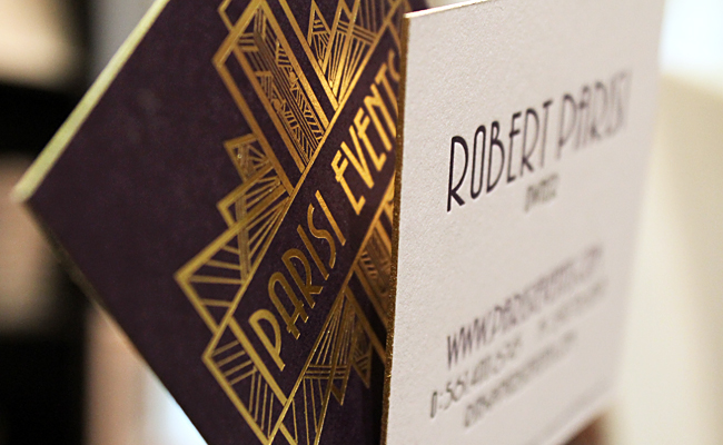 Foil stamped duplexed purple gold square business cards