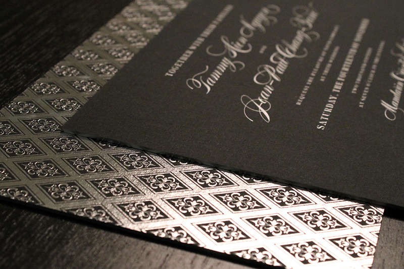 foil-letterpress-ornate-black-silver-wedding-invitations