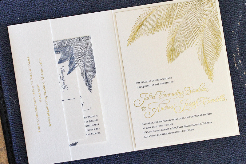 Navy And Gold Foil Palm Tree Wedding Invitations The Windmill