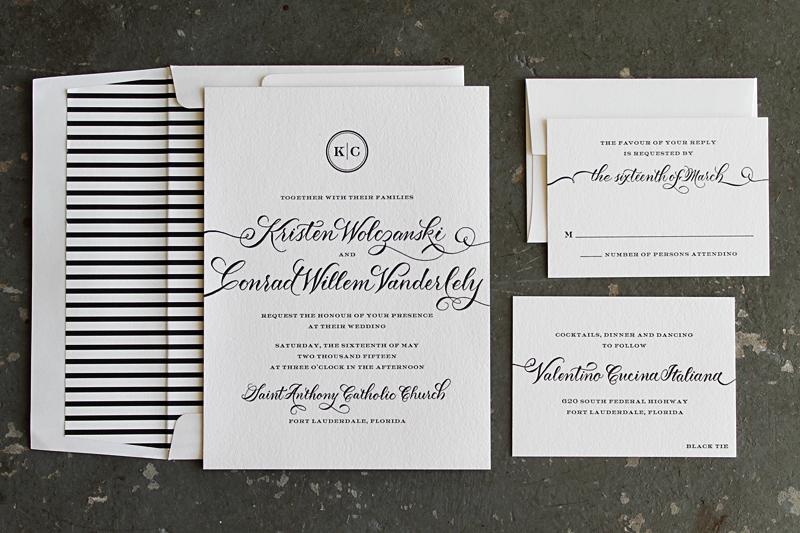 black tie letterpress wedding invitations with hand calligraphy - Black Tie Wedding Invitations