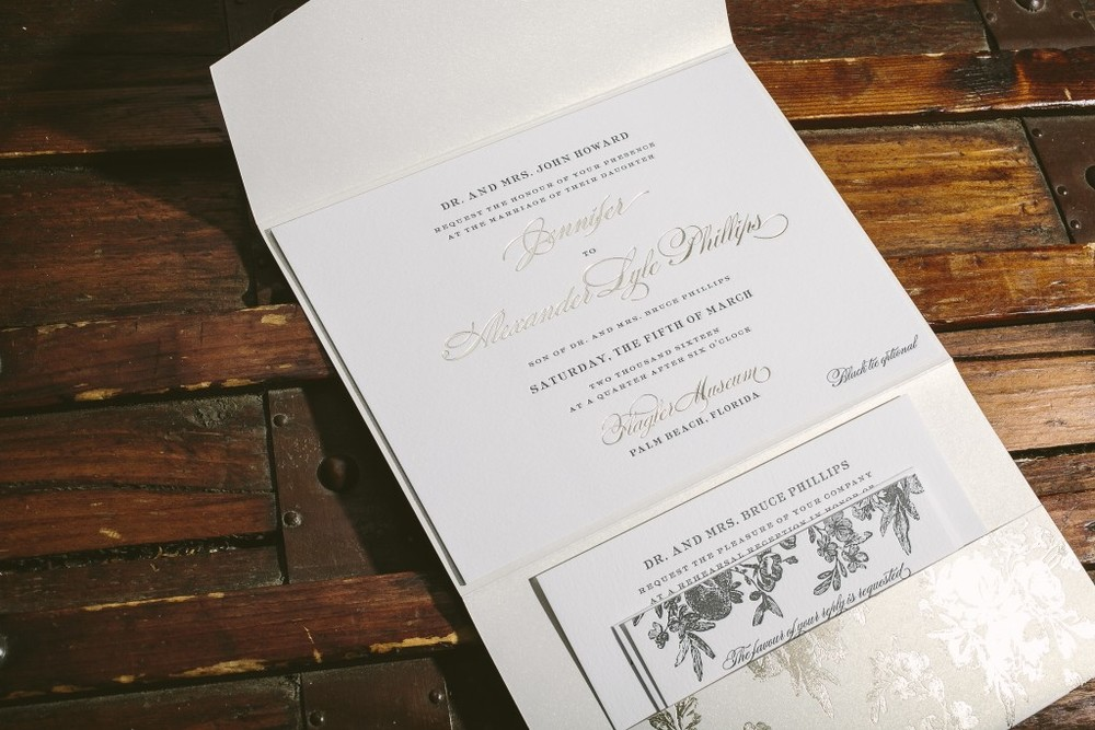 ornate foil stamped invitations for flagler museum wedding the
