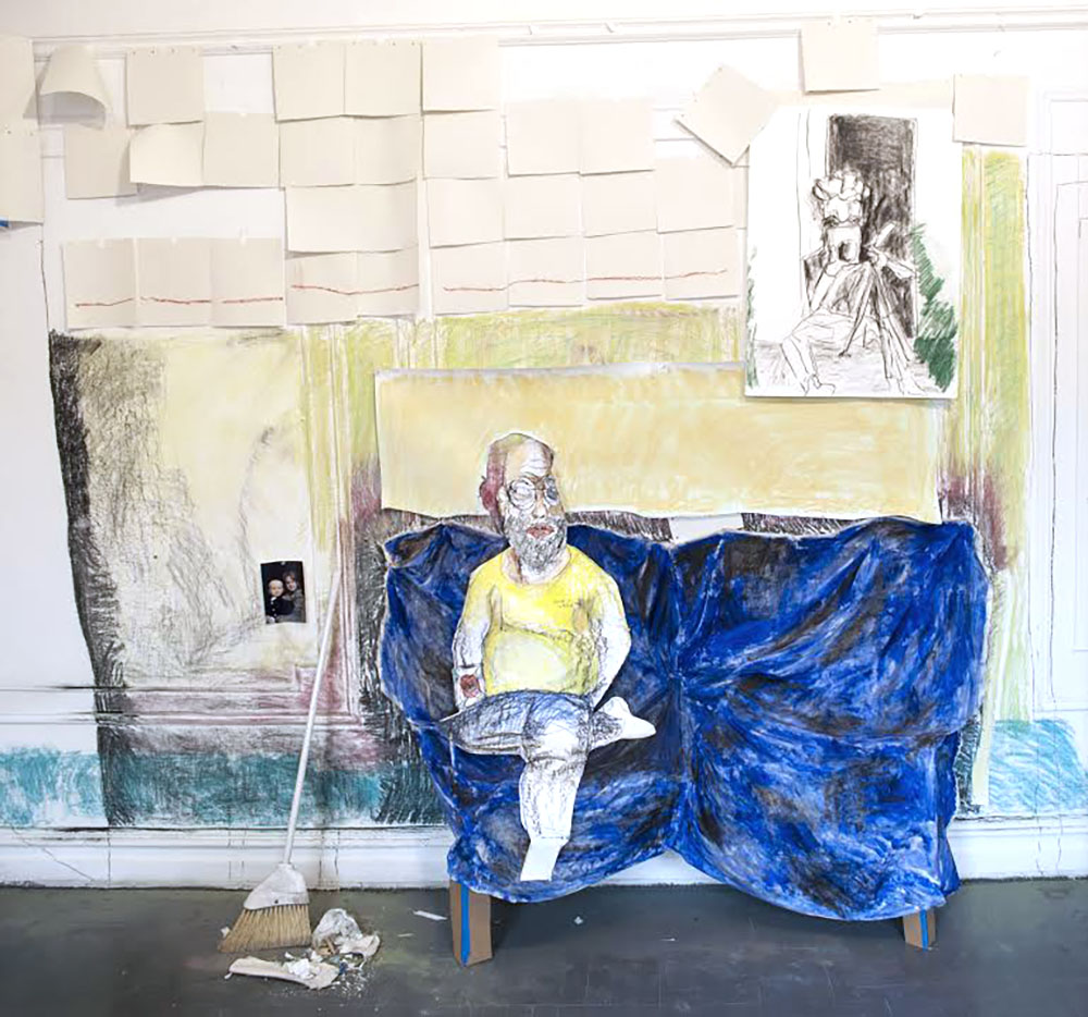Get Me a Beer   Pastel, paper, oil on starched muslin, cardboard, broom, trash, wall-drawing and photograph  2016