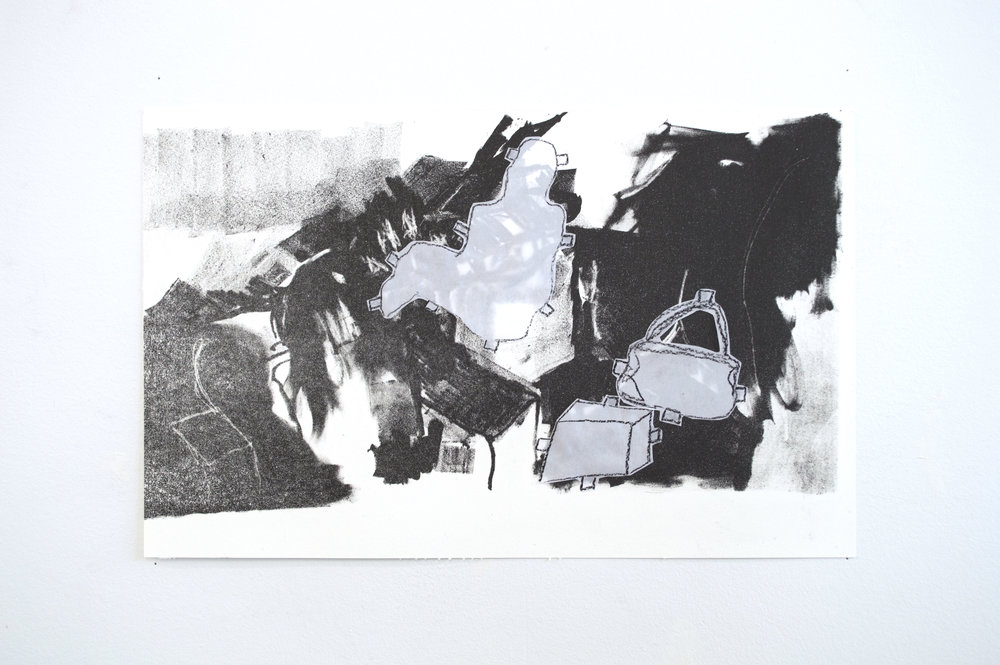 Welcome Home-Christmas Break  (stone stage I)  Lithograph and Collage  2017