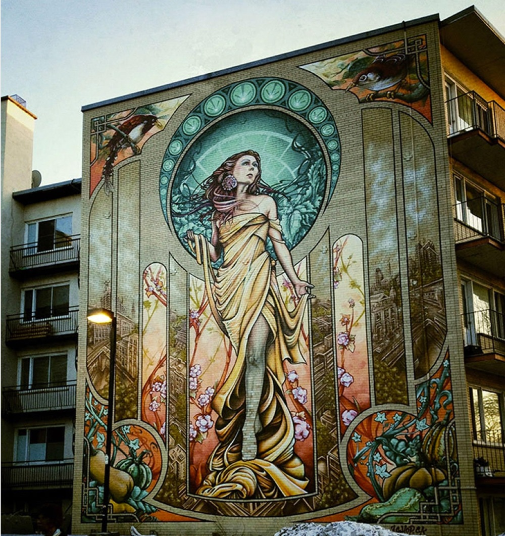 "Art Nouveau mural ""Our Lady of Grace"" in the City of Montreal"