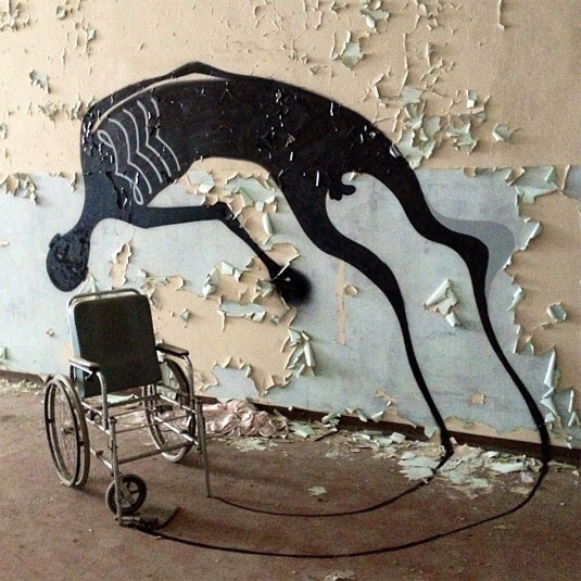 "Herbert Baglione's ""1000 shadows"" project, here in an abandoned psychiatric hospital"