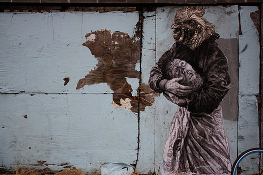 New York based artist Gaia often chooses to showcase some dark imagery