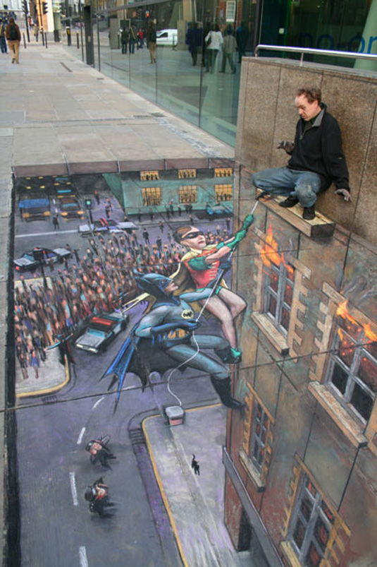 British street artist Julian Beever creates 3D scenes with just pavement and chalk.