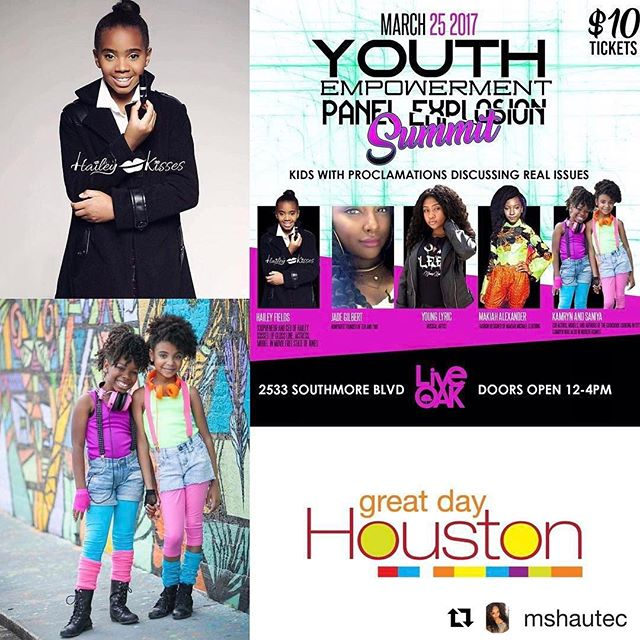 Tune in tomorrow to @greatdayhouston! We'll be LIVE with @haileykisses @ 9AM to discuss the Youth Empowerment Panel Explosion Summit supporting young #kidpreneurs . Join us and #DeborahDuncan as we talk about what it takes to be a kid-preneur in the entertainment industry .  The Youth Empowerment Panel Explosion Summit takes place Saturday March 25th @ #LiveOakHTX from 12P-4P #houseofobsessions [repost @mshautec]