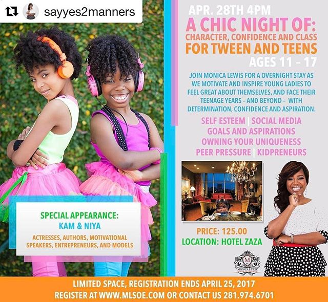 We are excited to join @sayyes2manners for a night of fun!  #Repost @sayyes2manners with @repostapp ・・・ ‼️‼️ We have an incredible night planned for tweens & teens ages 11-17 and we want YOU to join us! #MLSOE and @kamandniya have teamed up to bring you a Chic Night of Character, Class and Confidence! Limited space available and you can register now at mlsoe.com or call us for more information! ‼️‼️ @hotelzaza