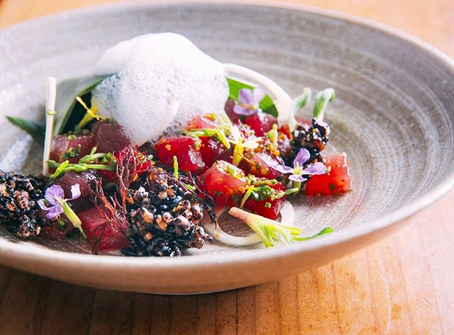 """How the Cuisine of Hawai'i Became the Bay Area's Comfort Food - Fueled by waves of migration, it's the ultimate American cuisine""! By @jlbitker 🌺 Link to full @eatersf thought piece in bio.  Pic: #Ahi tuna, roasted #kukui nuts, & fresh limu #seaweed from our OG tasting menu. 📷: @ericwolfinger #poke #hawaiianfood #hawaii #tastingmenu"