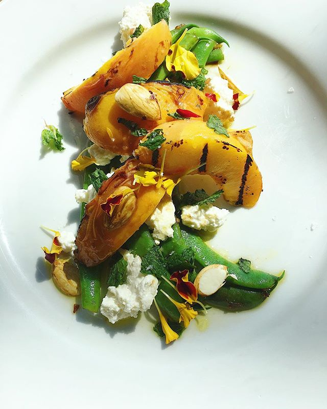 grilled peach, pole bean, ricotta, green almond . . . #asheville #riverartsdistrict #avleats #lefooding #eat #eater #food #foodandwine #foodporn #foodphotography #peach #almonds #beans #fresh #local