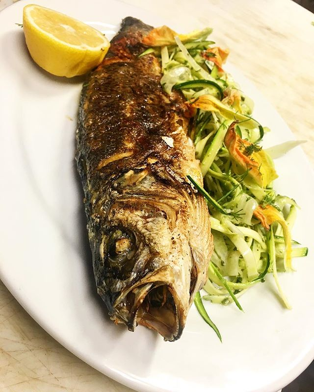 whole sea bass, summer squash, fennel, pistou . . . #asheville #dinner #entree #fresh #eater #riverartsdistrict #lefooding #eat #eats #eatstagram #seabass #mediterranean #bones #squash #fennel