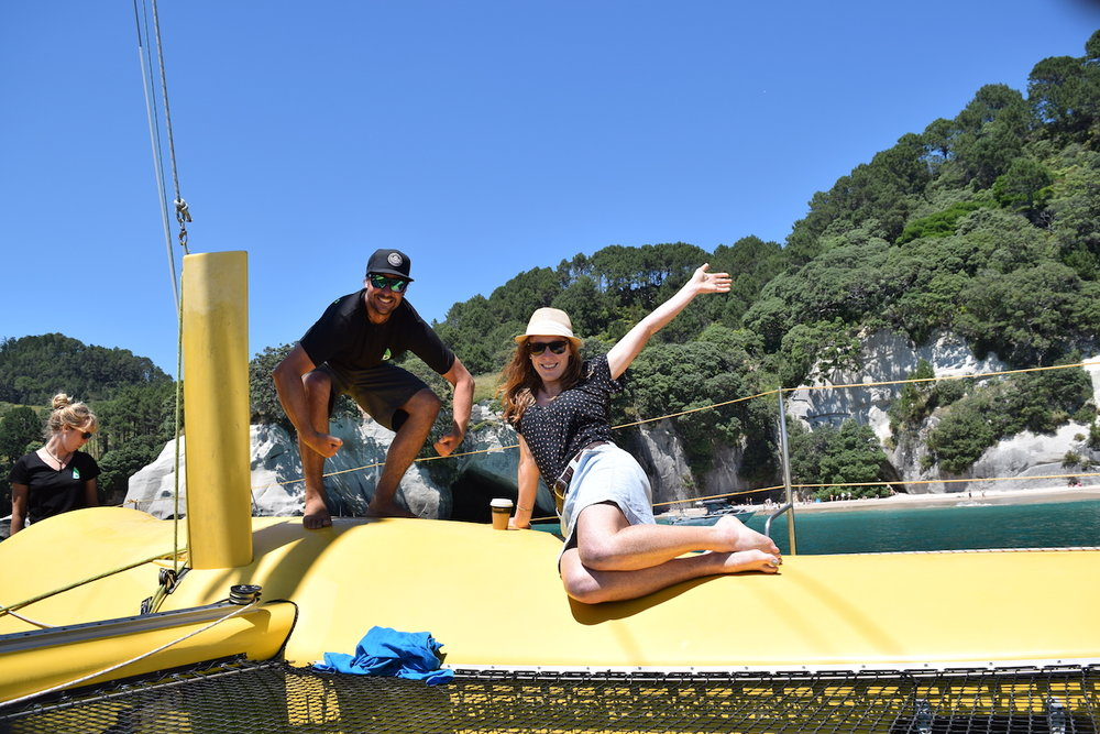 The boom crew pose at Cathedral cove.JPG