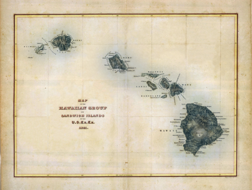 1840 1841 Wilkes Map Of The Hawaiian Islands From The Us Exploring - Map-of-the-us-including-hawaii